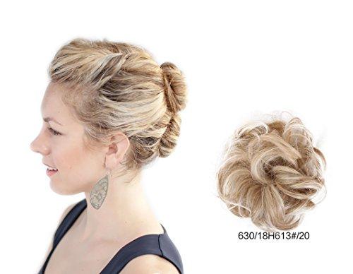 ShowPower Perruque cheveux bouclés perruques plat malpropre bouclés cheveux chignon Extension postiche Cosplay Party cheveux courts (or léger) BUN-630/18H613#/20