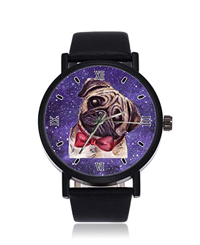 Mops Hund mit roter Fliege Ultradünne Herren Damen Armbanduhr Business Casual Sport Quarz Armbanduhr für Frauen Herren Wasserdicht Unisex Armbanduhr