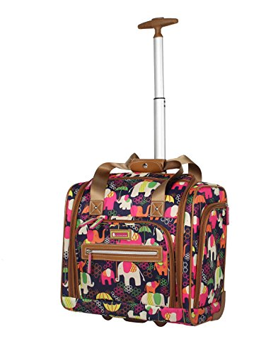 Lily Bloom Designer 15 Inch Carry On - Weekender Overnight Business Travel Luggage - Lightweight 2- Spinner Wheels Suitcase - Under Seat Rolling Bag for Women (Elephant Rain)