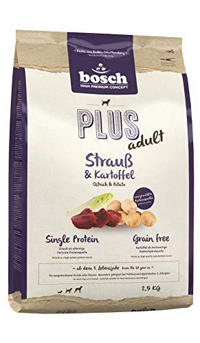 bosch HPC PLUS Strauß & Kartoffel   Hundetrockenfutter für ausgewachsene Hunde aller Rassen   Single Protein   Grain-Free   1 x 2.5 kg