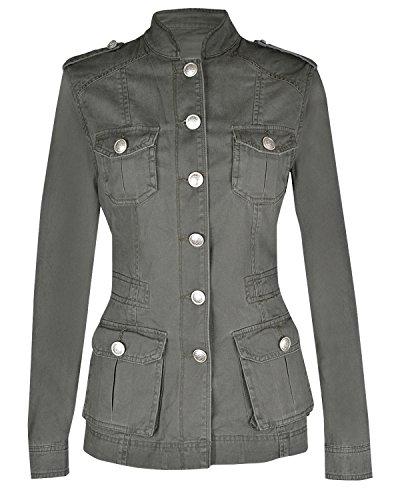 Giacca da donna, stile militare, estiva Silver Button Khaki 44