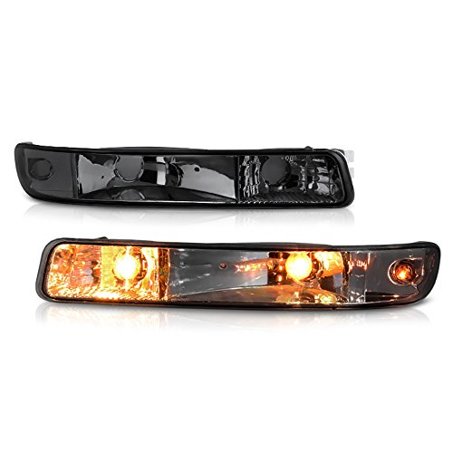 VIPMOTOZ Front Bumper Turn Signal Light Assembly For 1999-2006 GMC Sierra Yukon XL 1500 2500HD 3500HD, Metallic Chrome Housing, Smoke Lens, Driver and Passenger Side