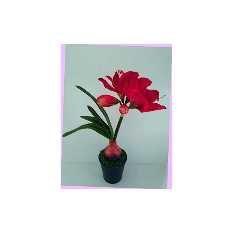 """silk flower arrangements artificial 15"""" deep red amaryllis plant artificial silk floral flowers bouquet realistic flower arrangements craft art decor plant for party home wedding decoration"""