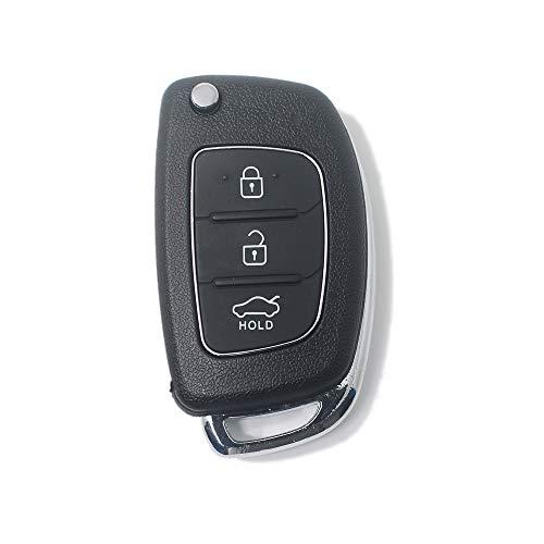 LAGE Ricambio Chiave Guscio con Lama per Telecomando Hyundai 3 Tasti Nero compatibile con i modelli i20 i30 i40 ix20 ix30 ix35 ix45 ix55 Tucson Santa Fe Elantra Accent