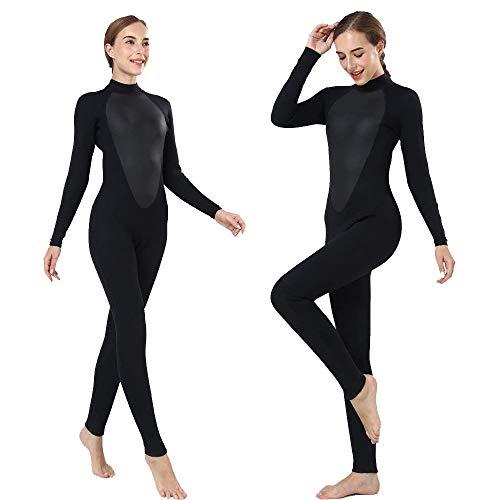 Realon Womens Wetsuit Full 3mm Neoprene Surfing Scuba Diving Snorkeling Swimming Suit (Black 3mm, M)