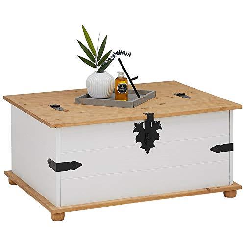 IDIMEX Mexico Möbel Truhentisch Tequila Couchtisch Truhe Wohnzimmertisch Beistelltisch im Mexiko Stil mit 5 Schubladen in weiß/braun