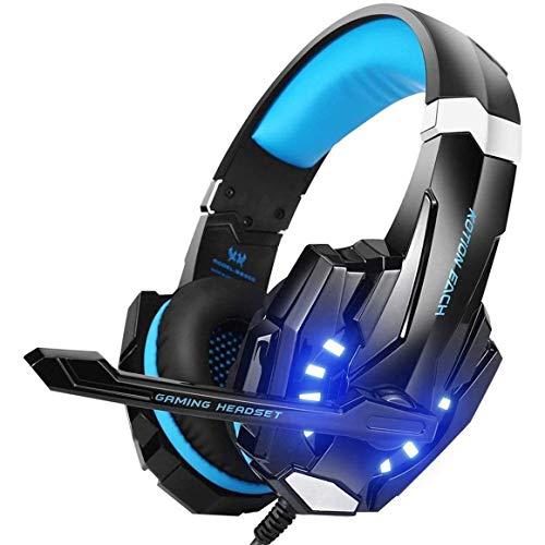 KoelrMsd G9000 Over-Ear Gaming Headset Auriculares para Juegos de 3,5 mm Auriculares con micrófono Luz LED para portátiles, tabletas, teléfonos móviles