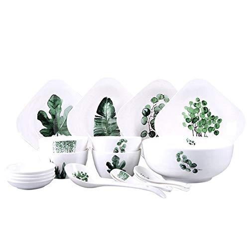 Keramisk servisuppsättning 18-delar set nordisk servis keramisk tallrik porslin skål kreativ salladskål platta kombination rätter set för hem hushåll tallrik skål set (färg: Vit, storlek: 18-del)