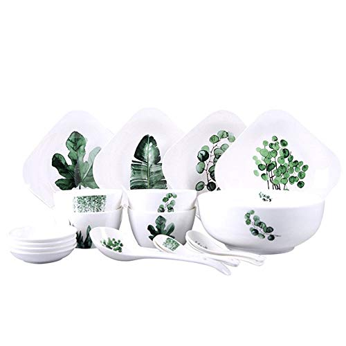 Juegos de Vajillas 18 Piezas Vajilla nórdica Placa de cerámica de Porcelana Cuenco Ensaladera Creativo vajillas Plato Combinado Conjunto para Cenas Formales (Color : White, Size : 18-Piece)