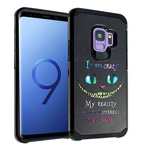 Cheshire Cat Quotes Galaxy S9 Case, IMAGITOUCH 2-Piece Style Armor Case with Flexible Shock Absorption Case Cover for Samsung Galaxy 9 – Alice in Wonderland Cheshire Cat Quotes Hybrid
