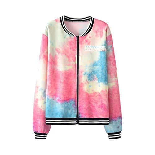 ZODOF chaqueta mujer Manga larga Tie Dye Impresión Cremallera Bolsillos Casual Deporte Saco Coat OutWear,Multicolor
