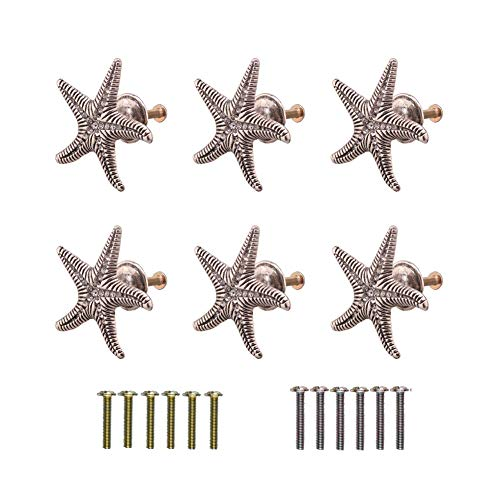 RUN 6 Pieces Starfish Knobs Coastal Beach Ocean Theme Single Hole Pulls Handles for Cabinet Drawer Cupboard (Antique Silver)