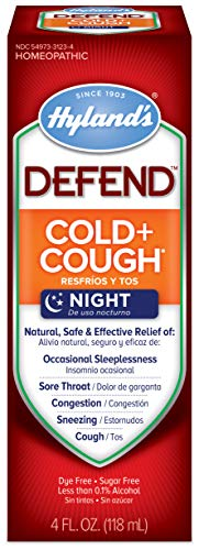 Cold and Cough Medicine by Hyland's Defend, Nighttime, Syrup for Dry Cough, Decongestant, and Sore Throat Relief, Natural Cold Medicine for Adults, 4 Oz