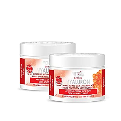 Victoria Beauty Hyaluron, Retinol, Caviar and Red-Grape Anti-Wrinkle Lifting Day and Night Cream - Anti-Aging Face Moisturizer with Hyaluronic Acid fo Ages 50 to 65+ from Camco