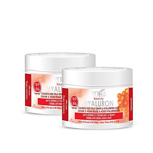 Victoria Beauty - Retinol Creme, Anti Aging Hyaluron Augencreme gegen Falten und Augenringe, straffende Gesichtscreme mit Kaviar und Hyaluronsäure für Frauen und Männer ab 50 (2 x 50 ml)