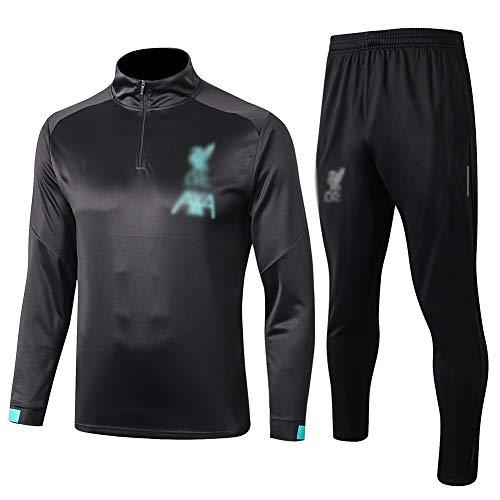 L-YIN Cuello alto mitad Tire Jersey Suit Europa Football Club Training deportes al aire libre de los hombres (Tops + Pants) - AG0377 Chándales (Color : Black, Size : L)