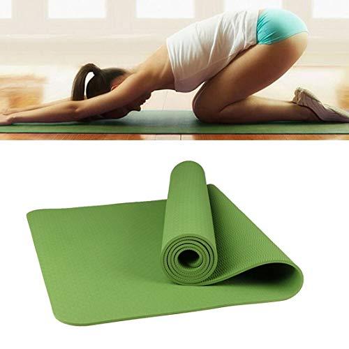 Colchonetas de Yoga 6 mm de Espesor ecológico TPE Antideslizante Inicio Ejercicio Yoga Mat, tamaño: 183 * 61cm (Negro) Green