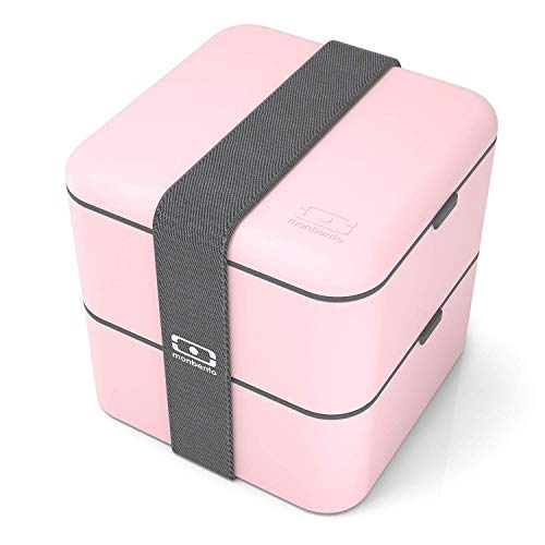 monbento - MB Square rosa Litchi Bento Box - Brotdose groß mit 2 Fächer - Lunch Box perfekt für Büro/Meal prep/Schule