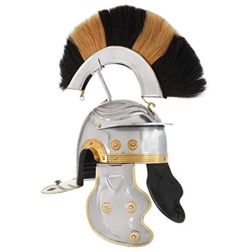 HUANGDANSP Römischer Soldaten-Helm Antik Replik für LARP Silbern StahlAndere Kunst Unterhaltung Hobby Kunst Sammlerstücke Sammlerwaffen