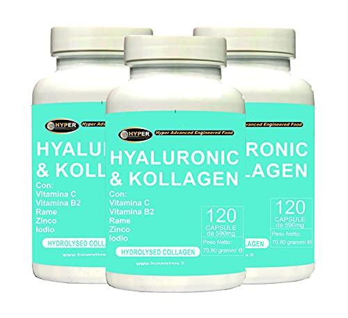 Integratore Collagene + Acido Ialuronico con Vitamine C B2 Zinco Rame e Iodio   Collagene Idrolizzato Per Mantenimento di Articolazioni, Ossa e Pelle 3 confezioni da 120 Capsule