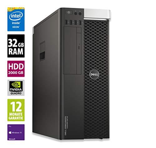 Dell Precision T5810 - Xeon E5-1620 v3 @ 3,5 GHz - 32GB RAM - 2000GB HDD - DVD-RW - Nvidia Quadro 2000 - Win10Pro (Zertifiziert und Generalüberholt)