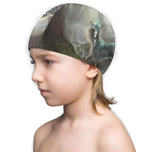 Badekappe für Kinder, bequem, 3D-Druck, Pferd mit Horn, Waldbaum, für kurze Haare