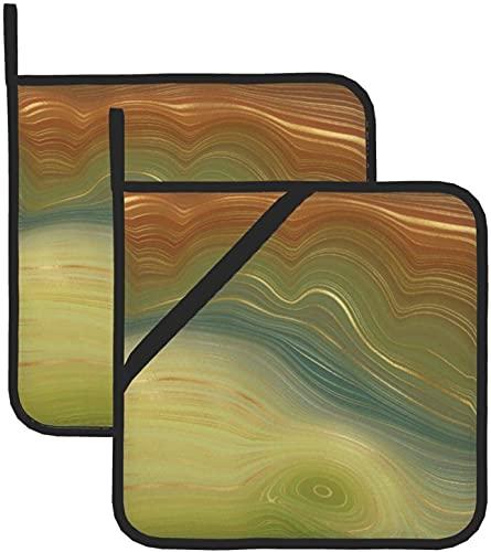 Earthy Retro Strata Natural Golden Stone Agate Guantes de horno para hornear agarraderas para cocinas duraderos para microondas y comedor