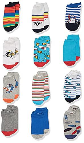 Spotted Zebra Boys' Kids Cotton Ankle Socks, 12-Pack Funny Sharks, Medium