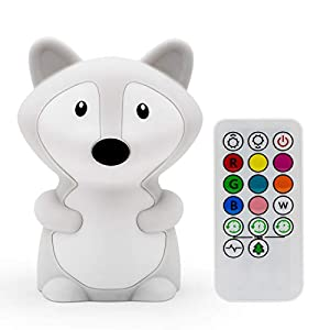 Fox Night Light, Night Lights for Kids, Bedside lamp, Bedroom Light, LEDs Lights, Baby Nursery lamp, Break Resistant, Eye Caring, Adjustable Brightness & Color and Time setting, Touch + Remote Control