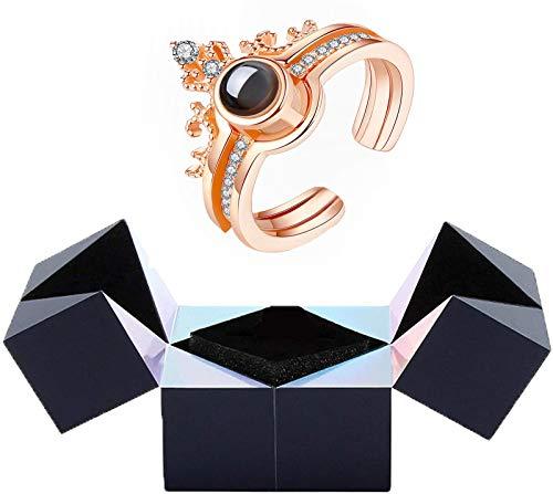 WSYYW Anillo Creativo y Caja Cubo mágico Giratorio, Rompecabezas Joyero Cubo mágico Giratorio, para el Día de San Valentín, Propuesta, Compromiso, Regalo de Boda (Dorado)