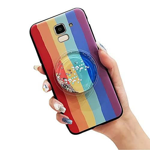 Sparkle Flexible Lulumi - Funda para Samsung Galaxy J6 2018/SM-J600F, carcasa de goma de juguete con brillo líquido, diseño de moda, antipolvo, arena, duradero, arco iris