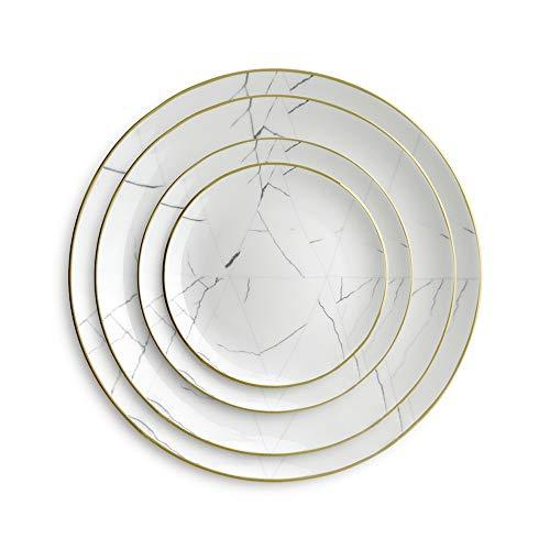 KDOAE Conjunto de Placa de vajilla 4 Piezas de Porcelana de Hueso del vajilla del Restaurante del Filete del hogar Platos Platos de cerámica para la Cena (Color : White, Size : One Size)