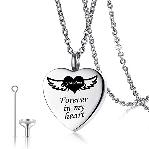 Urn Necklaces for Human Ashes Forever in My Heart Cremation Jewelry Necklace Pendant Funnel Filler Kit (Grandma urn)