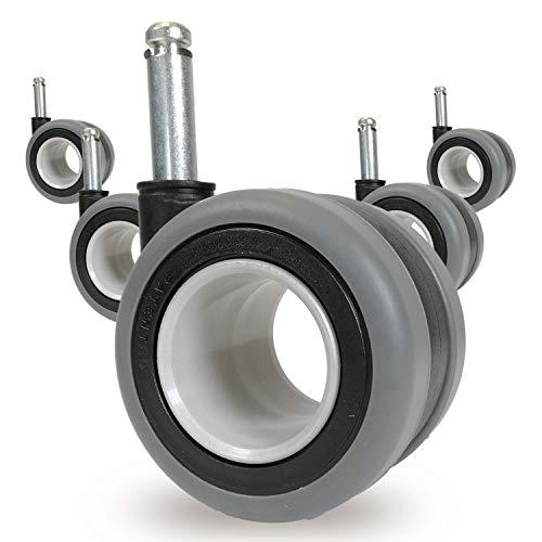 OfficeWorld Range Hartbodenrollen Ring Stuhlrollen 5er Set Ø 65mm - Ø 10mm x 32mm, 20mm oder 25mm Stiftlänge - Extrem Leise Rollend - Ungebremst - Sicherheits Doppelrollen