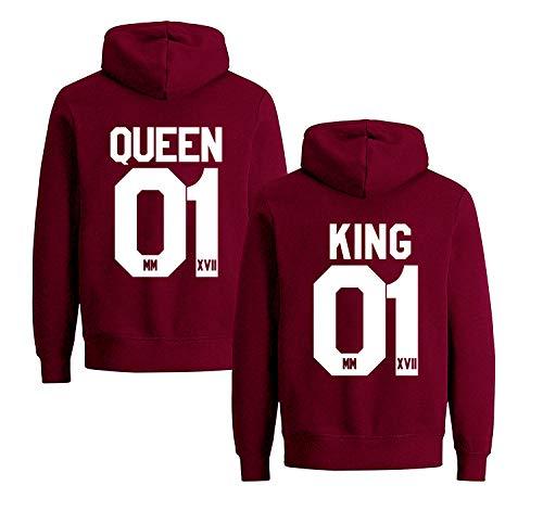 D-Trend King Queen Pullover Set Pärchen Hoodie für 2 Kapuzenpullover für Paare Paar Valentinstag Partner Geschenke Partnerlook Liebespaar Couple Kapuzenpulli 2 Stücke(Weinrot,King-L+Queen-L)