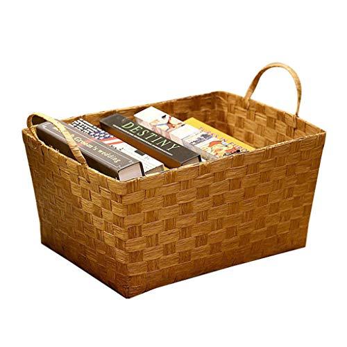 Storage Box Boîte De Rangement, Panier De Rangement De Bureau, Série De Rangement Intérieur pour Le Bureau, Matériel De Sécurité 100% (Color : Brown, Size : 26cm*36cm*20cm)