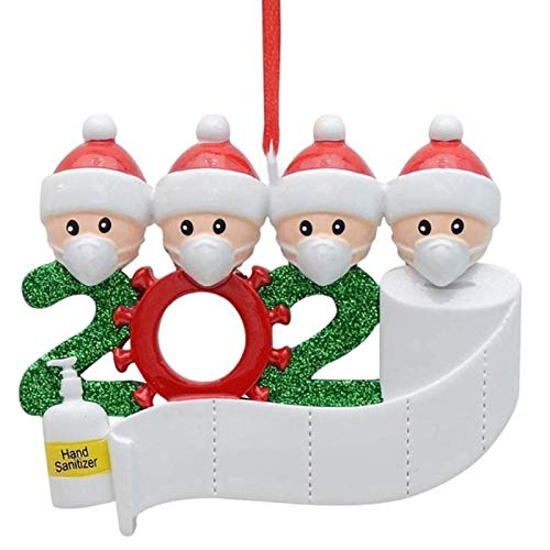 ZSDD Adorno Familiar Sobrevivido Familia DIY Nombre Escrito a Mano Mascarilla Muñeco de Nieve Árbol de Navidad Colgante Colgante Adornos para Árboles de Navidad 2020 Cuarentena Fiesta