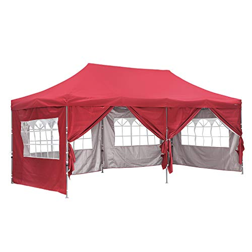 Outdoor Basic 10x20 Ft Wedding Party Canopy Tent Pop up Instant Gazebo with Removable Sidewalls and Windows Red