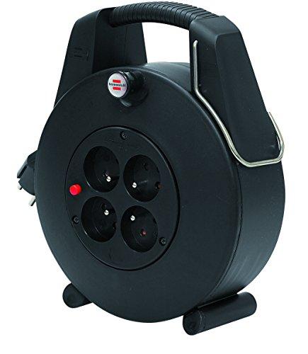 Brennenstuhl Confort-Line Enrouleur à Usage Domestique 4 Prises avec 20m de câble (H05VV-F 3G1,0, IP20, Noir, Petit Format, très Pratique) 1102901