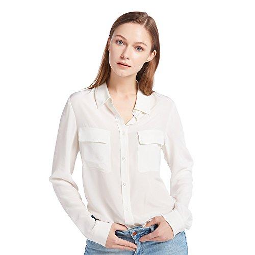 LilySilk Klassisch Seide Damenbluse Hemdbluse Shirt Damen Langärmlig mit Perlmutt-Knopfleiste von 18 Momme (Natur, XL) Verpackung MEHRWEG
