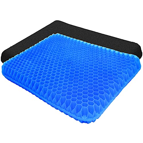 Extra Thick Gel Enhanced Seat Cushion - Non-Slip Egg Seat Cushion for Sciatica & Back Pain Relief - Office Chair Car Seat Cushion - Tailbone Chair Cushion Pad