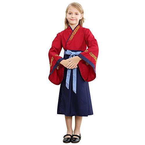 Mukola Asian Princess Costume Chinese Hanfu Style Three-Piece Dress Up Set Clothes Girls Birthday Party Red-Navy