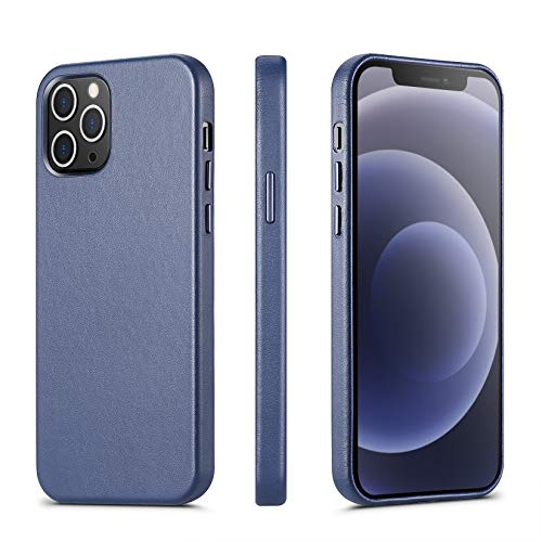 ILOFRI Compatible with iPhone 12 Mini case, Premium Real Leather Case Support Wireless Charging,Slim Non-Slip Grip Scratch Resistant Full Body Protective Phone Case for iPhone, 5.4 inch - Blue