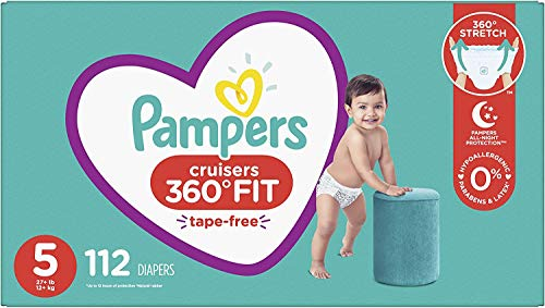 Diapers Size 5, 112 Count - Pampers Pull On Cruisers 360 Fit Disposable Baby Diapers with Stretchy Waistband, ONE MONTH SUPPLY (Packaging May Vary)