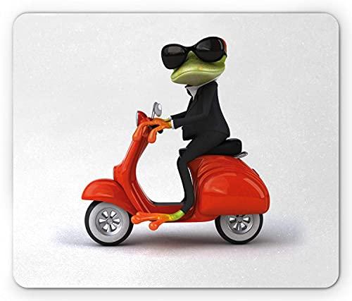 Scooter Mouse Pad, skurrile Illustration des lustigen Frosches mit Anzug und Sonnenbrille auf Motorrad, rechteckiges rutschfestes Gummi-Mauspad, Standard Multicolor