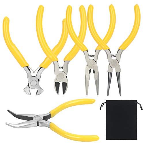 CHALA 5PCS Alicates para joyería, mini alicates para cuentas, alicates electrónicos de precisión con agarre antideslizante, alicates largos y redondos de punta plana para manualidades