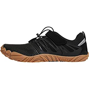 WHITIN Men's Trail Running Shoes Minimalist Barefoot 5 Five Fingers Wide Width Toe Box Gym Workout Fitness Low Zero Drop Male Light Weight Comfy Lite Tennis FiveFingers Black Gum Size 10
