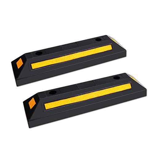 F COME 2 Pack Heavy Duty Rubber Parking Block Parking Curb - Wheel Stop Stoppers with Scatter Glass Reflective Yellow Targets for Car Garage Floor Stops and Truck RV Stop Aid Indoor Outdoor