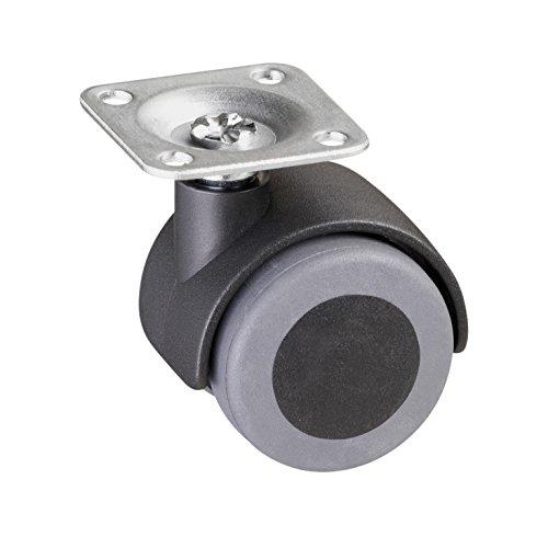 Metafranc Doppelrolle Ø 40 mm - 38 x 38 mm Platte - TPR-Rad - Weiche Lauffläche - Gleitlager - 30 kg Tragkraft / Transportrolle / Möbelrolle / Containerrolle / Parkettrolle / 802200
