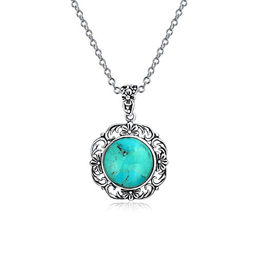 Bali Style Octagon Stabilized Turquoise Gemstone Filigree Pendant Necklace For Women 925 Sterling Silver With Chain